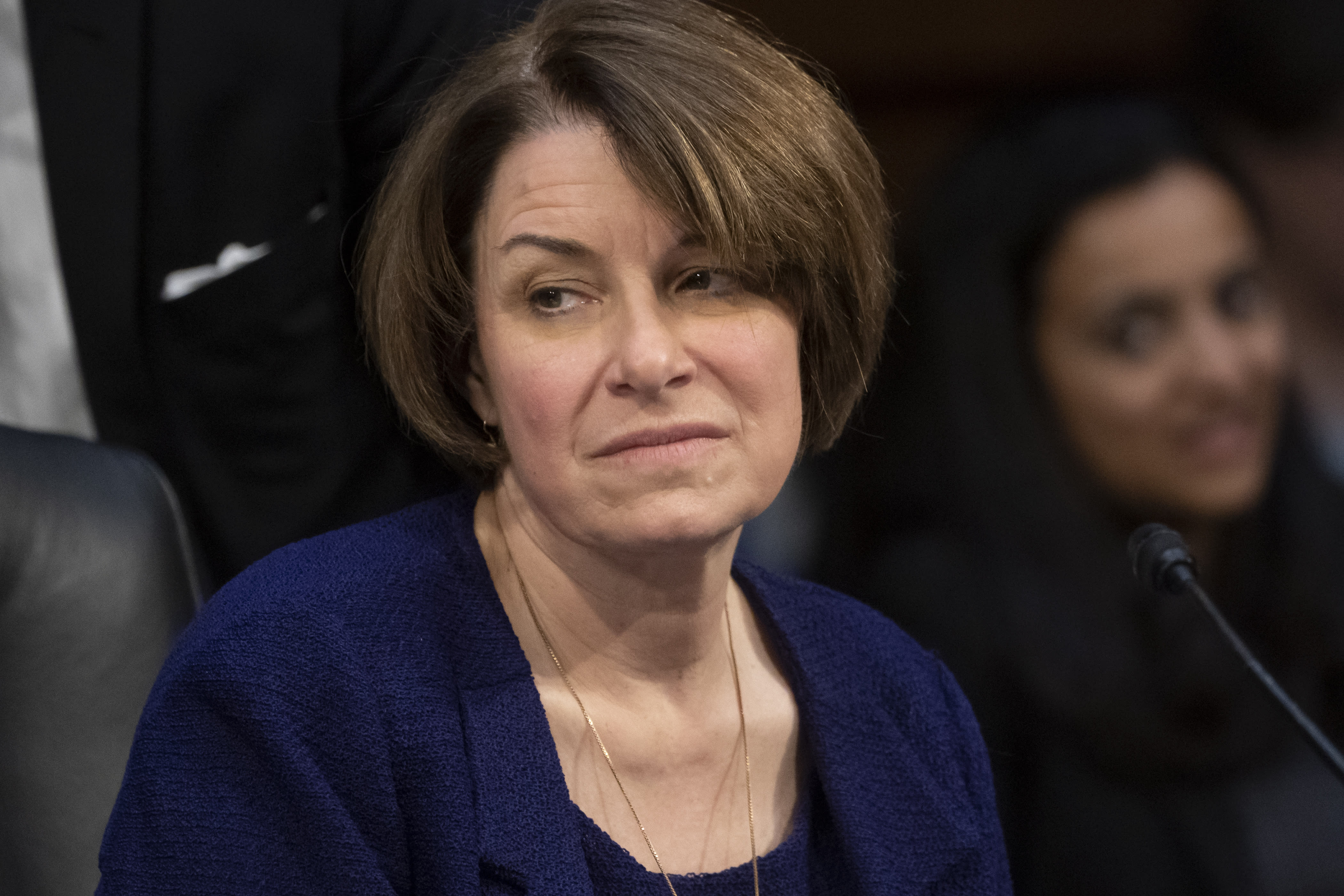 "Senate Judiciary Committee member Sen. Amy Klobuchar, D-Minn., prepares to vote against advancing William Barr's nomination for attorney general, as the panel meets on Capitol Hill in Washington, Thursday, Feb. 7, 2019. ""This is not the time to install an attorney general who has repeatedly espoused a view of unfettered executive power."" Klobuchar said Thursday. (AP Photo/J. Scott Applewhite)"