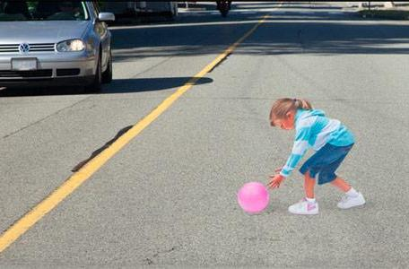 Optical illusion lets you safely run over fake children