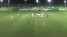 Watch: Pitch-invading car interrupts soccer match, nearly runs over players