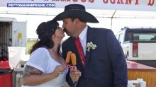 Couple throws an epic state fair-themed wedding complete with Ferris wheel, corn dogs