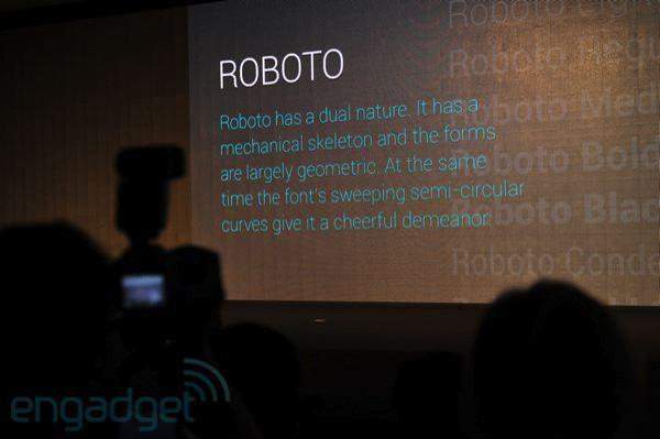 Roboto font and the new design philosophy of Android 4.0, Ice Cream Sandwich