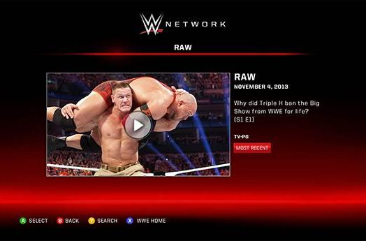 Xbox One pins WWE Network app