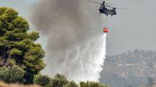 Greek firefighters battle forest blaze for second day near seaside village