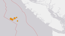 Several earthquakes strike off Vancouver Island, with no reports of damage