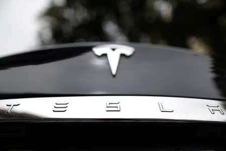 FILE PHOTO: A Tesla car is seen in Santa Monica