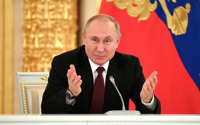 Russian President Vladimir Putin has thanked US President Donald Trump for intelligence that helped foil the attack; pictured is Putin at the Kremlin in Moscow, on December 25, 2019