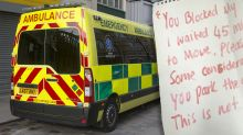 Angry note left on ambulance while paramedics respond to emergency