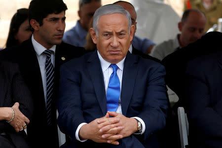 FILE PHOTO: Israeli Prime Minister Benjamin Netanyahu attends an annual state memorial ceremony for Israel's first prime minister, David Ben Gurion, at his gravesite in Sde Boker