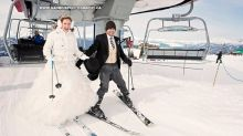 Bride and groom hit the slopes after wedding ceremony for 'quiet moment together'
