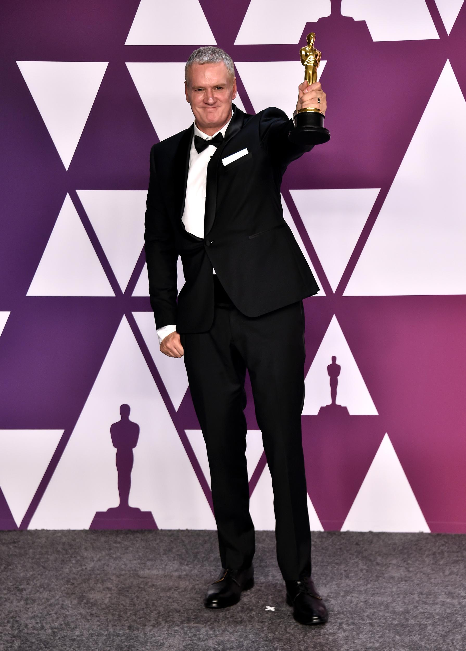 John Ottman with the award for Film Editing for Bohemian Rhapsody in the press room at the 91st Academy Awards held at the Dolby Theatre in Hollywood, Los Angeles, USA.