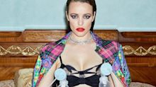 Rachel McAdams wears a double breast pump, diamonds and Versace for magazine shoot