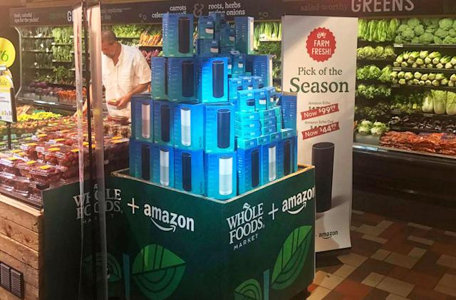 Whole Foods is already hawking Amazon Echo speakers