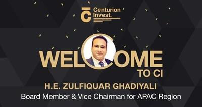 Image DIHC Bets Big on Centurion Invest (CI) As H.E. Mr. Zulfiquar Z. Ghadiyali Joins CI as Vice Chairman to the APAC Region and Member to Board of Directors