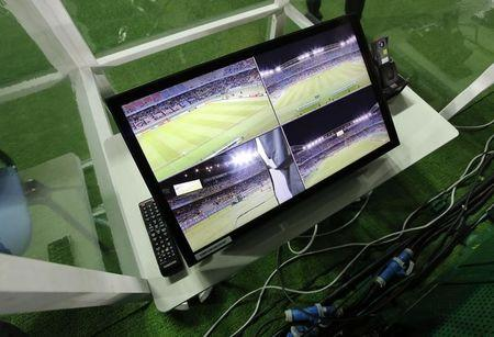 FILE PHOTO: General view of a part of the video refereeing system before the match