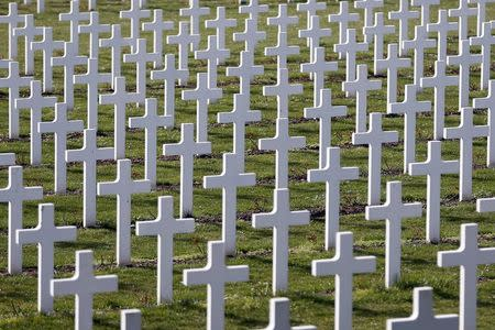 Crosses are seen at the cemetery outside the WWI Douaumont ossuary near Verdun, northeastern France, in this March 30, 2014 file picture. REUTERS/Charles Platiau/Files