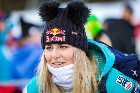 FILE PHOTO: Lindsey Vonn of the United States during interview in the finish area after her run during training for the women's downhill in the 2017 FIS Alpine Skiing World Cup at Lake Louise Ski Resort in Lake Louise