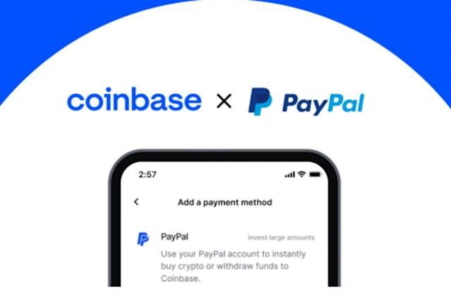 Coinbase now lets US users pay for cryptocurrency through a PayPal account