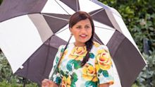 Mindy Kaling Takes Her Baby Bump to Work in a Colorful Floral Dress