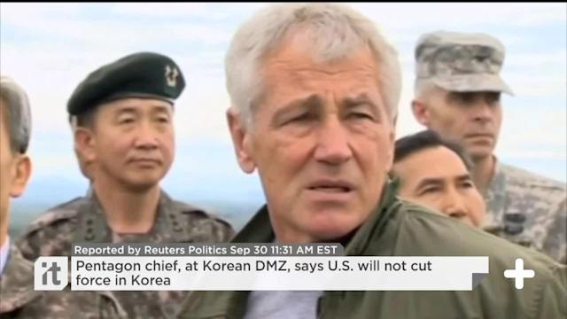 Pentagon Chief, At Korean DMZ, Says U.S. Will Not Cut Force In Korea