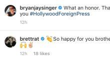 Brett Ratner Congratulates 'Brother' Bryan Singer for Bohemian Rhapsody Wins at Golden Globes