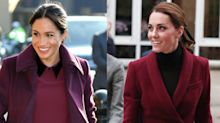 Kate Middleton and Meghan Markle Match in Burgundy Outfits While Attending Different Events