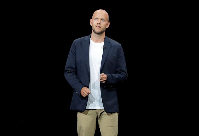 Daniel Ek, CEO of Spotify speaks at a Samsung product launch event in Brooklyn, New York, U.S., August 9, 2018. REUTERS/Lucas Jackson