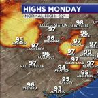 Near record heat Monday, monitoring tropical low in the Gulf
