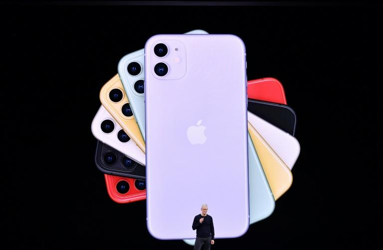 Apple CEO Tim Cook normally hosts splashy media events like this one in November 2019 to introduce new products, but the iPhone SE was introduced with a press release due to the coronavirus lockdown (AFP Photo/Josh Edelson)