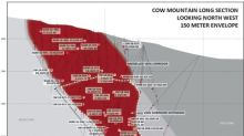 Cow Mountain Drilling Extends High Grade Gold Mineralization Down Dip to 400 Meters