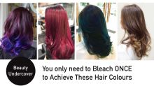 Which are the hair colours that require only one bleach to achieve?