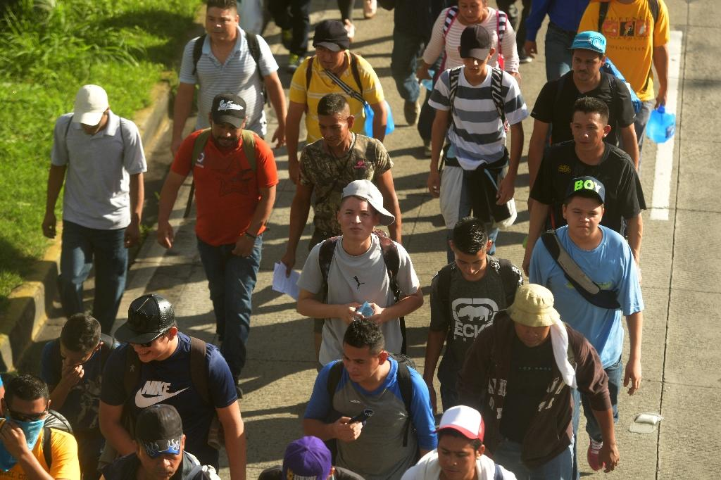 Hundreds of Salvadorans are on the march in the hope of emulating the much larger Honduran caravan already in Mexico and US-bound (AFP Photo/MARVIN RECINOS)
