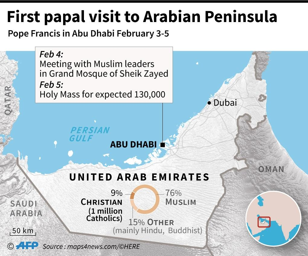 Map of the UAE where Pope Francis will make the first papal visit to the Arabian penninsula from February 3-5. (AFP Photo/Jean Michel CORNU)