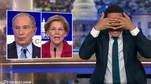 "Trevor Noah Covers His Eyes As ""Crazy"" Democratic Debate Descends Into Chaos"