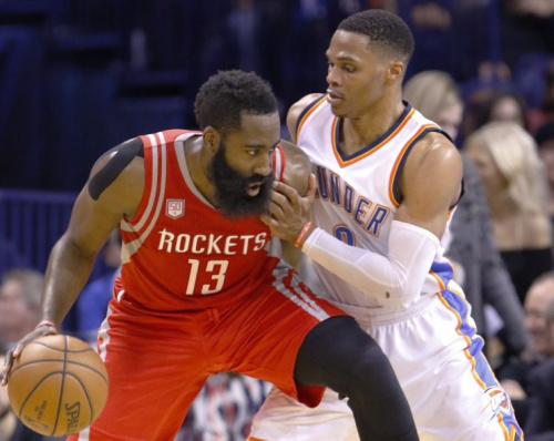 James Harden and Russell Westbrook could be in line for new deals. (AP)