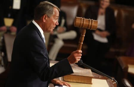 Speaker of the House John Boehner wields the gavel for the first time after being re-elected as the Speaker of the U.S. House of Representatives at the start of the 114th Congress at the U.S. Capitol in Washington January 6, 2015. REUTERS/Jim Bourg