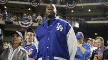 Magic Johnson celebrates Dodgers pennant-clinching win at Lakers opener