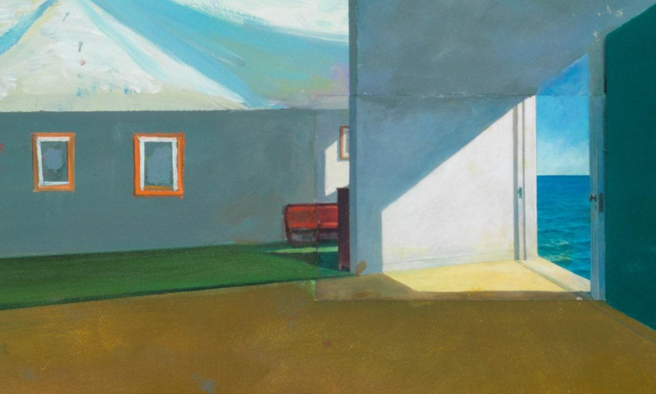 """""""It started with an interior scene by Edward Hopper in the center. And then I created other spaces where I inserted these other postcard 'characters' into this environment and tried to bridge them. They connect with the horizon through the window in the Hopper. From there, I veered off even further."""""""