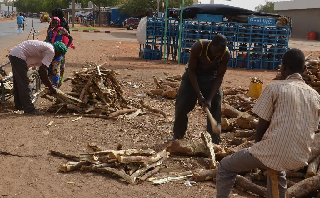 Woodcutters cut the wood they sell on the side of the road, next to a petrol station that sells gas, in downtown Niamey on July 20, 2015 (AFP Photo/Boureima Hama)