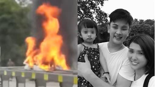 31日馬來西亞發生一起休旅車自撞護欄失火車禍,造成葉姓駕駛及3歲女童死亡。(圖/翻攝自YouTube及臉書)