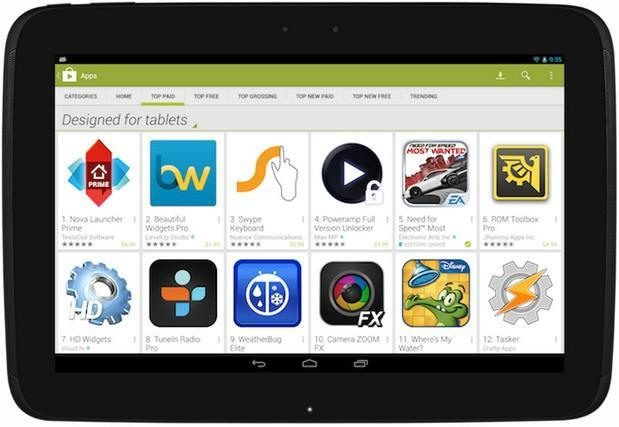 Google Play update showcases big-screen optimized apps on tablets