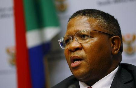 South African Sports Minister Fikile Mbalula addresses a media conference in Cape Town