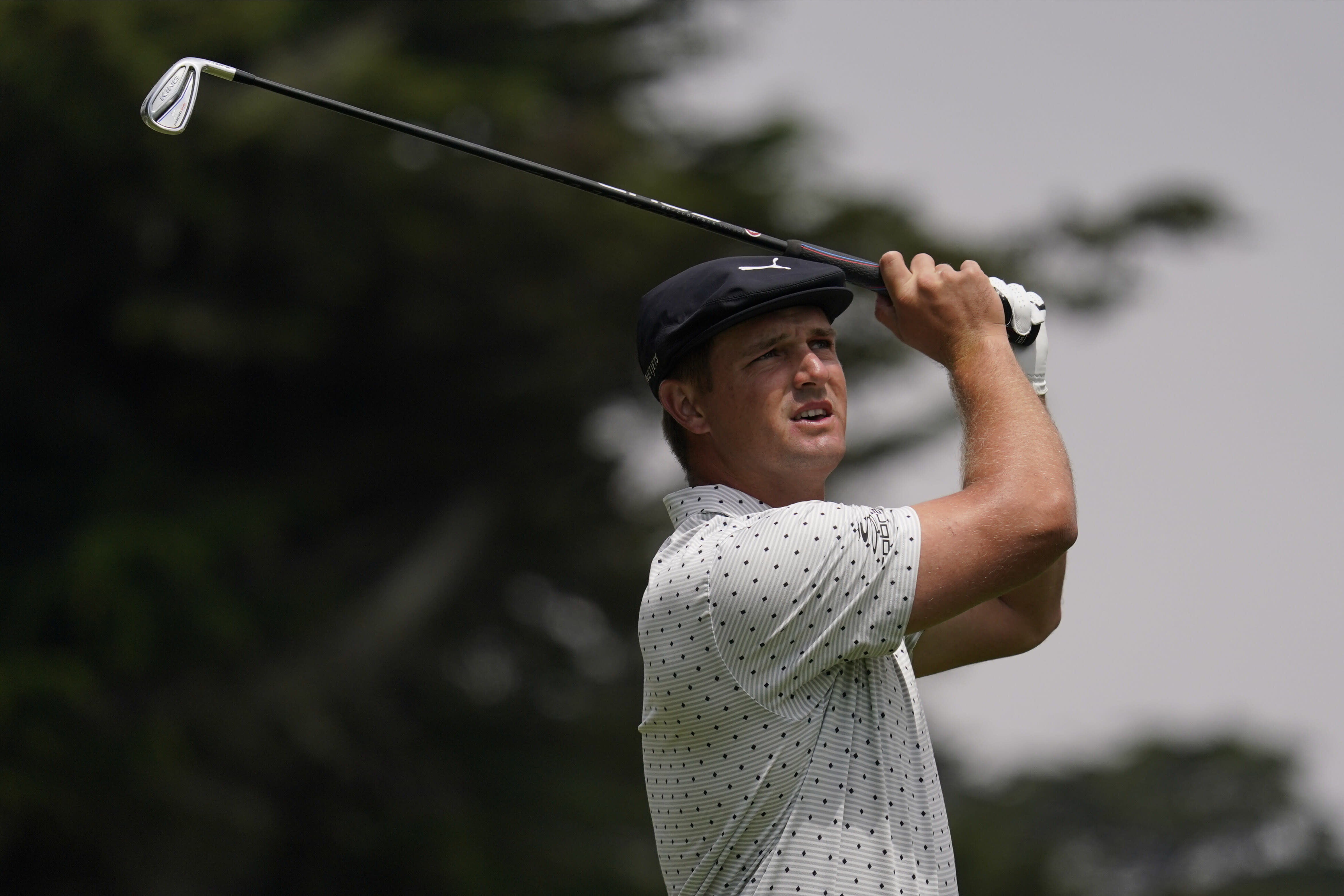 Bryson DeChambeau watches his tee shot on the third hole during the third round of the PGA Championship golf tournament at TPC Harding Park Saturday, Aug. 8, 2020, in San Francisco. (AP Photo/Jeff Chiu)