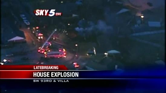 House explosion sends ball of flames into sky