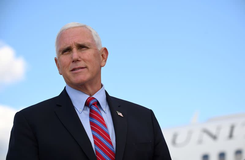 FILE PHOTO: U.S. Vice President Mike Pence departs for travel to the vice presidential debate in Salt Lake City, Utah, at Joint Base Andrews, Maryland