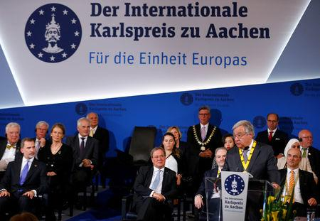 United Nations Secretary-General Antonio Guterres speaks during the Charlemagne Prize (Karlspreis) ceremony in Aachen, Germany May 30, 2019. REUTERS/Thilo Schmuelgen