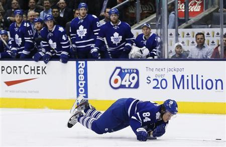 Toronto Maple Leafs' Grabovski falls during their NHL hockey game against Florida Panthers in Toronto