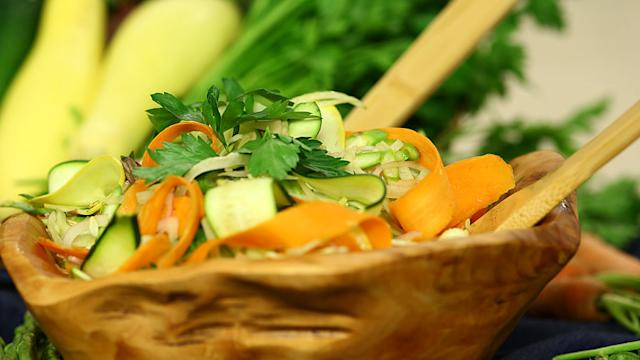 Transform Your Farmers Market Haul Into a Ribboned Vegetable Salad