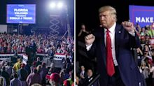 Trump downplays Covid at rally as US hits record daily cases