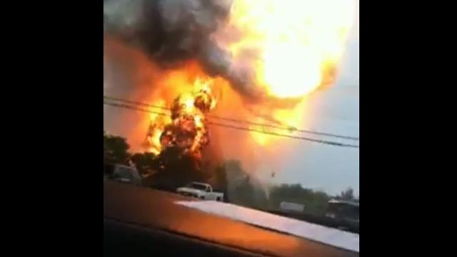 Watch: Train, truck collision causes massive explosion