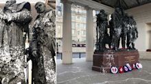 Vandals cover Winston Churchill and Bomber Command statues in paint